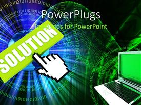 PowerPlugs: PowerPoint template with a laptop with the word solution in the background