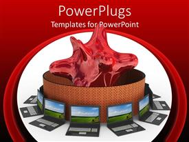 PowerPlugs: PowerPoint template with laptops with beautiful wallpaper arranged around round brick wall