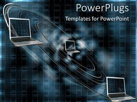 PowerPlugs: PowerPoint template with laptops into spiral depicting data flow concept on digital dark background