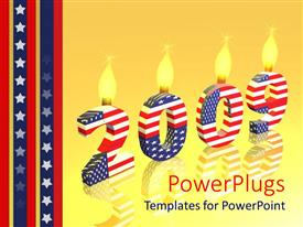 PowerPoint template displaying large 2009 symbol with a USA flag color on a yellow reflective surface