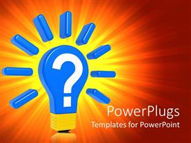 PowerPlugs: PowerPoint template with large 3D blue and gold colored bulb with a question mark