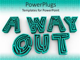 PowerPlugs: PowerPoint template with large 3D blue maze text forming the text  AWAY OUT