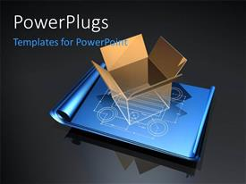 PowerPlugs: PowerPoint template with large 3D cardboard box placed on blueprint plan with grey color
