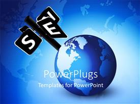 PowerPlugs: PowerPoint template with a large 3D globe with a a sign post on it