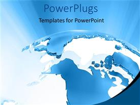 PowerPlugs: PowerPoint template with large 3D graphics of a globe ob a blue background