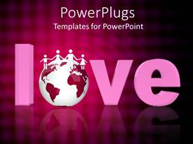 PowerPlugs: PowerPoint template with a large 3D text that spells out the word 'love '