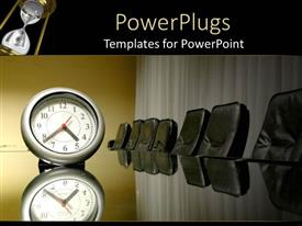 PowerPlugs: PowerPoint template with a large analogue clock on a black business conference table