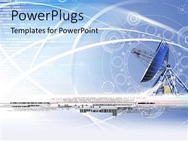 PowerPlugs: PowerPoint template with a large antenna dish with lots of images on a blue background