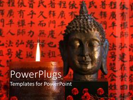 PowerPoint template displaying large Asian candle lit in front of a Buddha head