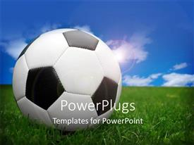 PowerPlugs: PowerPoint template with large ball on a green field and a clear blue sky