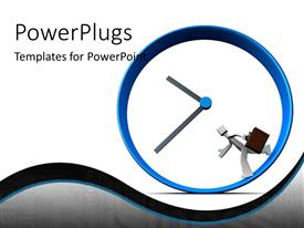 PowerPlugs: PowerPoint template with a large big clock with a 3D character running inside it