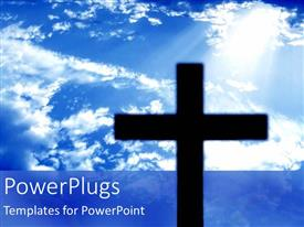 PowerPlugs: PowerPoint template with a large black cross on a clear blue sky background