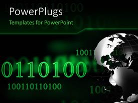 PowerPlugs: PowerPoint template with a large black and silver colored globe with binary