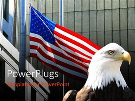 PowerPlugs: PowerPoint template with a large black and white eagle beside a large usa flag