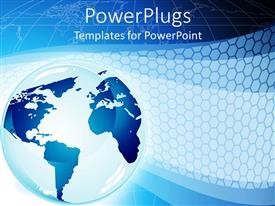 PowerPlugs: PowerPoint template with large blue 3D globe on a blue map background
