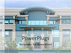 PowerPlugs: PowerPoint template with large blue and beige office building with landscaping