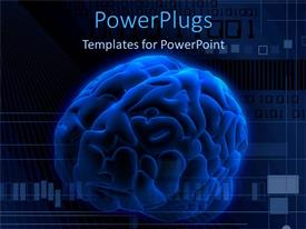PowerPlugs: PowerPoint template with a large blue colored 3d human brain and some binary