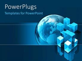 PowerPlugs: PowerPoint template with a large blue colored globe with some blue cubes