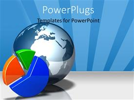PowerPlugs: PowerPoint template with a large blue colored globe with a multi colored pie chart