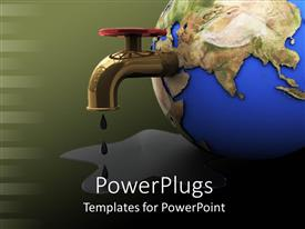 PowerPlugs: PowerPoint template with a large blue colored globe with a tap head