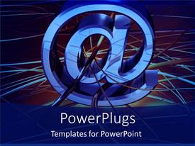 PowerPoint template displaying a large blue colored @ symbol with lots of purple lines