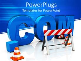 PowerPoint template displaying large blue dot com text and a construction board