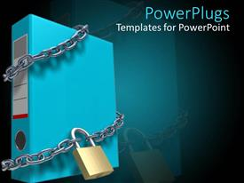 PowerPlugs: PowerPoint template with large blue folder being bound by silver chains and a padlock