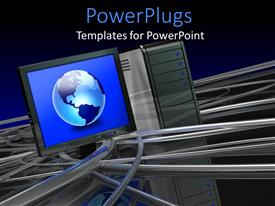 PowerPoint template displaying large blue globe in a monitor surface anc cables