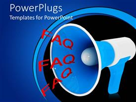 PowerPlugs: PowerPoint template with a large blue microphone with three red 'FAQ'text