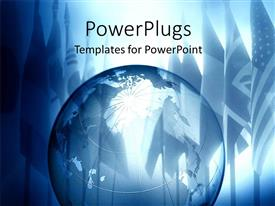 PowerPoint template displaying a large blue transparent globe with shinning flags behind it