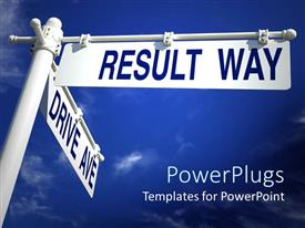 PowerPlugs: PowerPoint template with large blue and white road sign with blue sky