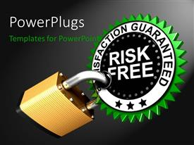 PowerPlugs: PowerPoint template with large brass padlock attached to satisfaction guaranteed label with dark grey color