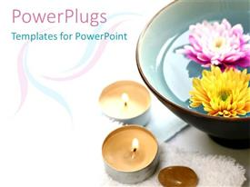 PowerPlugs: PowerPoint template with large brown bowl with pink and white flowers and candles