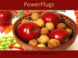 PowerPlugs: PowerPoint template with large brown bowl with three red apples and nuts