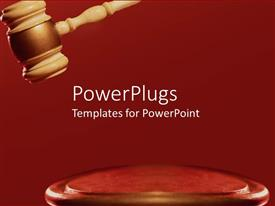 PowerPoint template displaying a large brown colored gavel on a red surface