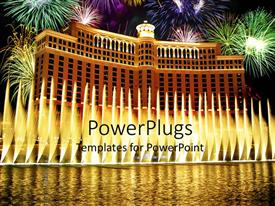 PowerPoint template displaying large building like palace with fireworks and water, fountains near the pool and Bellagio hotel in Las Vegas at night with fireworks on the sky