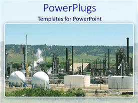 PowerPlugs: PowerPoint template with large chemical plant on a vast natural land scape