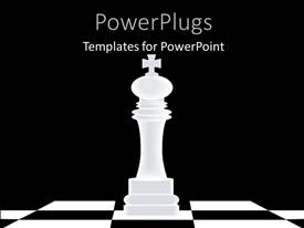 PowerPlugs: PowerPoint template with a large chess piece with a cross on it on a chess board