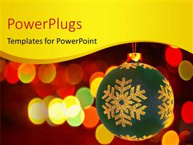 PowerPlugs: PowerPoint template with large christmas ornament hanging with blurred colorful lights in background