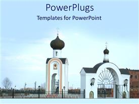 PowerPlugs: PowerPoint template with large church complex with black gate and white security post