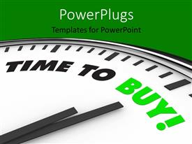 PowerPlugs: PowerPoint template with large clock with clock hands pointing at TIME TO BUY