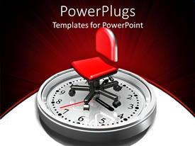 PowerPoint template displaying large clock with a red office chair on a white background