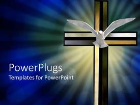 PowerPlugs: PowerPoint template with large colorful cross with a flying dove in front