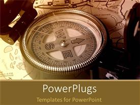 PowerPlugs: PowerPoint template with large compass laying on treasure map