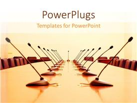 PowerPlugs: PowerPoint template with a large conference room with many chairs and microphones