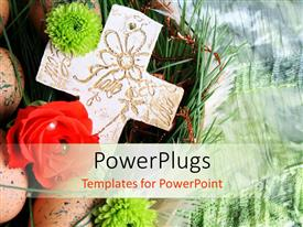 PowerPlugs: PowerPoint template with a large cream colored cross with some flowers and eggs