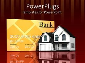 PowerPoint template displaying large credit card with beautiful duplex and background of wine bars