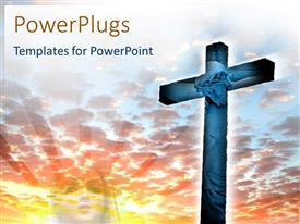 PowerPlugs: PowerPoint template with large cross with Jesus Christ image on a cloudy background