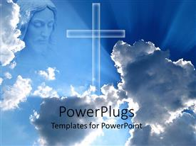 PowerPoint template displaying large cross and representation of God looking down from the clouds