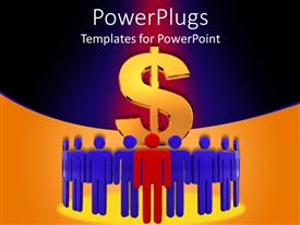 PowerPlugs: PowerPoint template with large dollar symbol behind blue and red business team